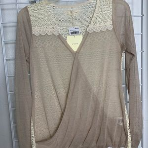 Sheer & Lace Wrap Style Blouse